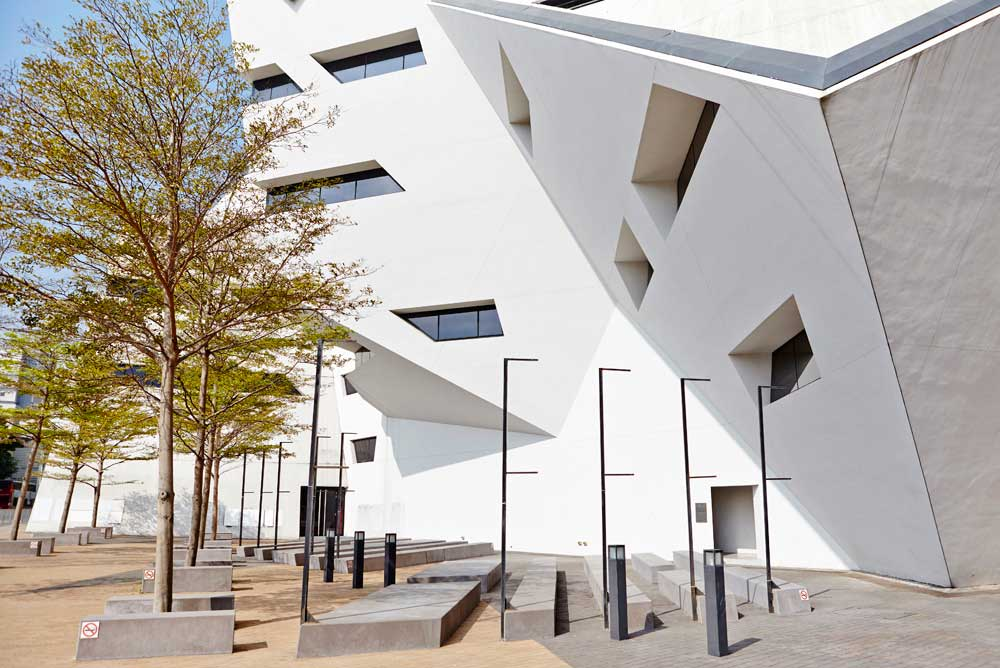 white angular architecture daniel libeskind by airey spaces