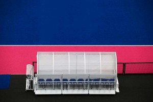 players bench from above with pink and blue pitch of olympics by airey spaces