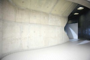 concrete and tile entrance to london olympic aquatic centre by airey spaces