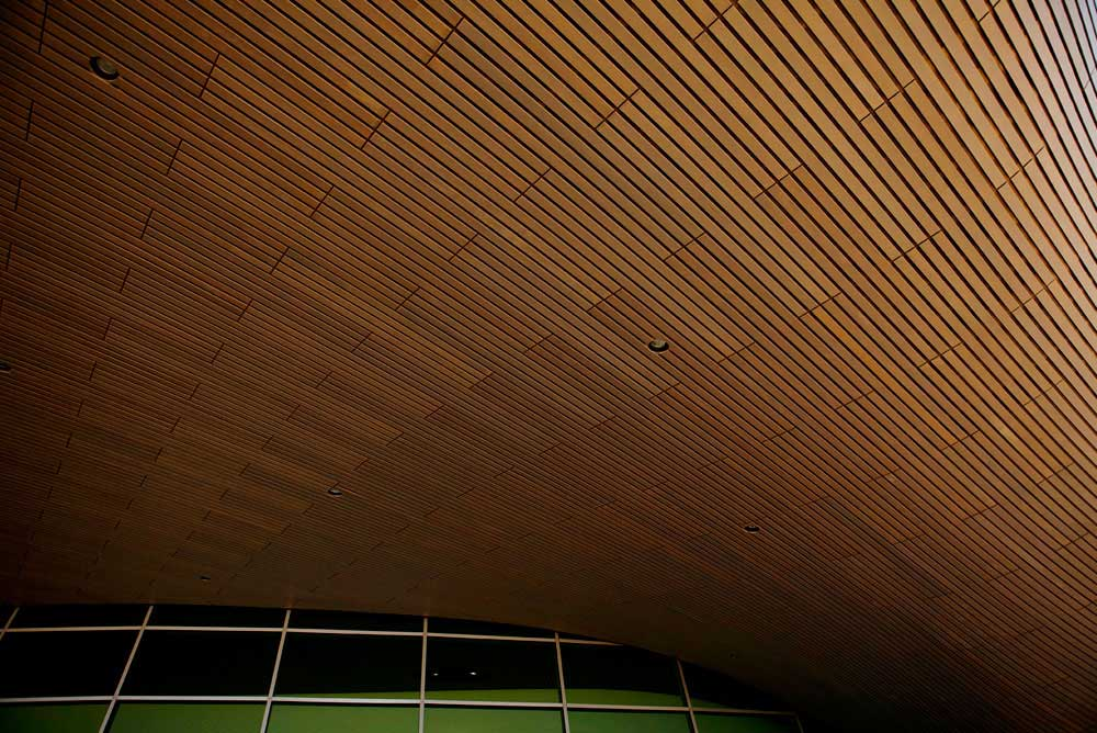 wooden roof ceiling of london aquatic centre by airey spaces