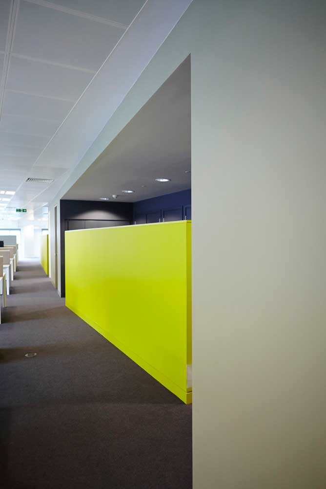 architect design office space with luminous green wall by airey spaces