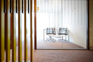 view into daylight meeting room with number 2 by airey spaces