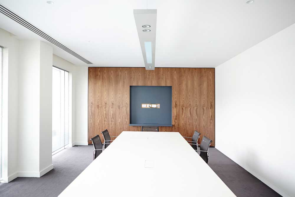 white bright daylight meeting room in modern office by airey spaces