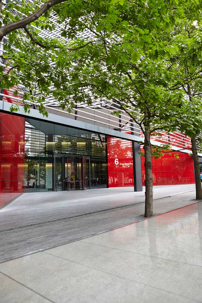 more london red office building entrance with trees by airey spaces