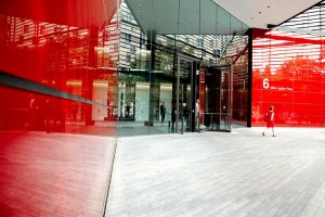 more london red office building entrance by airey spaces