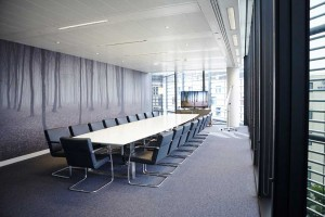 board room with tree wallpaper in stylish london offices by airey spaces