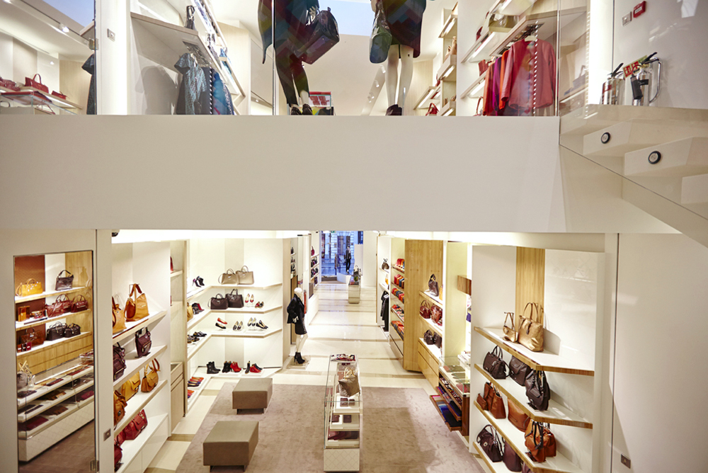 new shop fit out for longchamp two floors split view by airey spaces