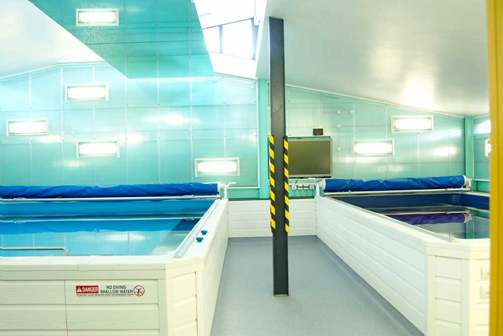 2 current swimming pools and turquoise wall in swim centre by airey spaces