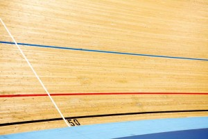velodrome track graphics at London 2012 Olympic arena by airey spaces