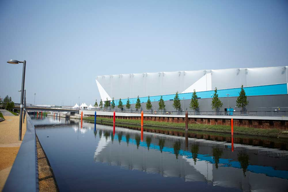 exterior shot of water polo and canal at london 2012 olympics by airey spaces