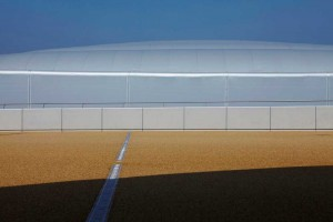 exterior structure and blue sky of water polo arena at London 2012 olympics by airey spaces