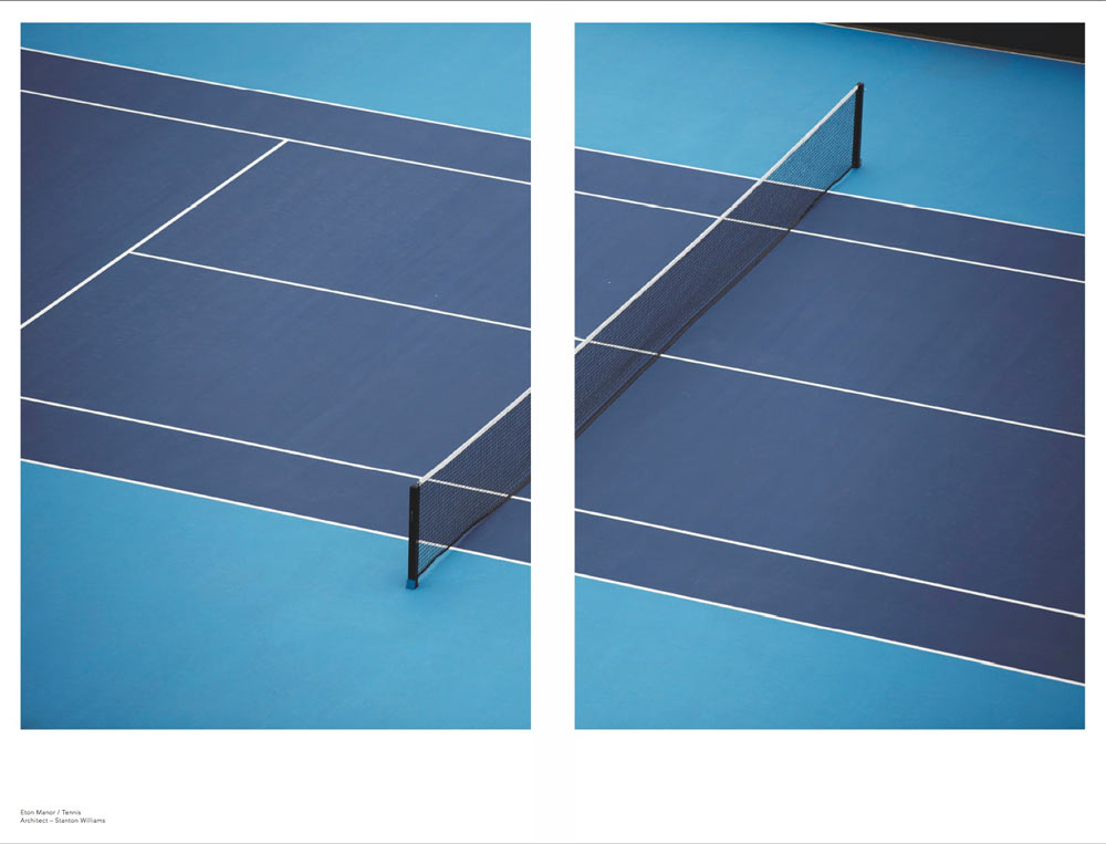 blue tennis court view from above by airey spaces