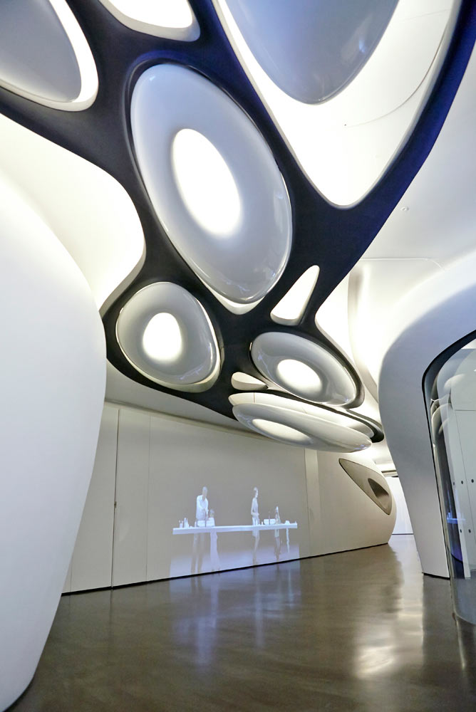 zaha hadid curved interior showroom of roca gallery london by airey spaces