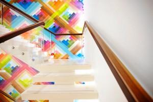 colourful maya hayuk mural in longchamp london store by airey spaces