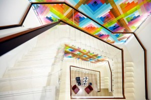 colourful maya hayuk mural in longchamp london store by airey spaces