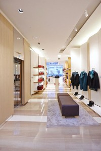 store interior of Longchamp New Bond Street shop by Airey Spaces