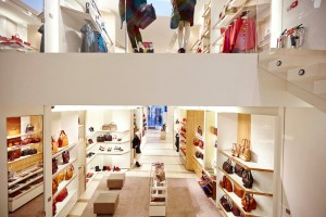2 floor view of Longchamp store on New Bond Street by Janie Airey