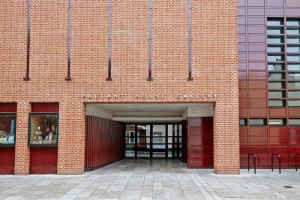 Pallant House Gallery entrance modern red brickwork by Airey Spaces