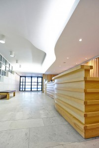 modern reception area with wood and glass in Pallant House Gallery by Airey Spaces