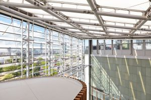 glass atrium and louvre system in St Thomas' hospital by Airey Spaces