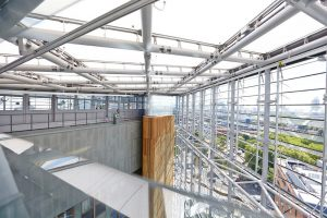 glass atrium and louvre system in St Thomas hospital by Airey Spaces