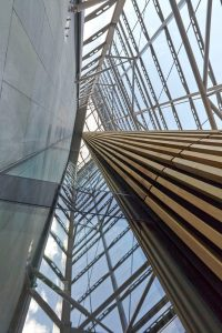 glass atrium and wooden cladding St Thomas hospital by Airey Spaces