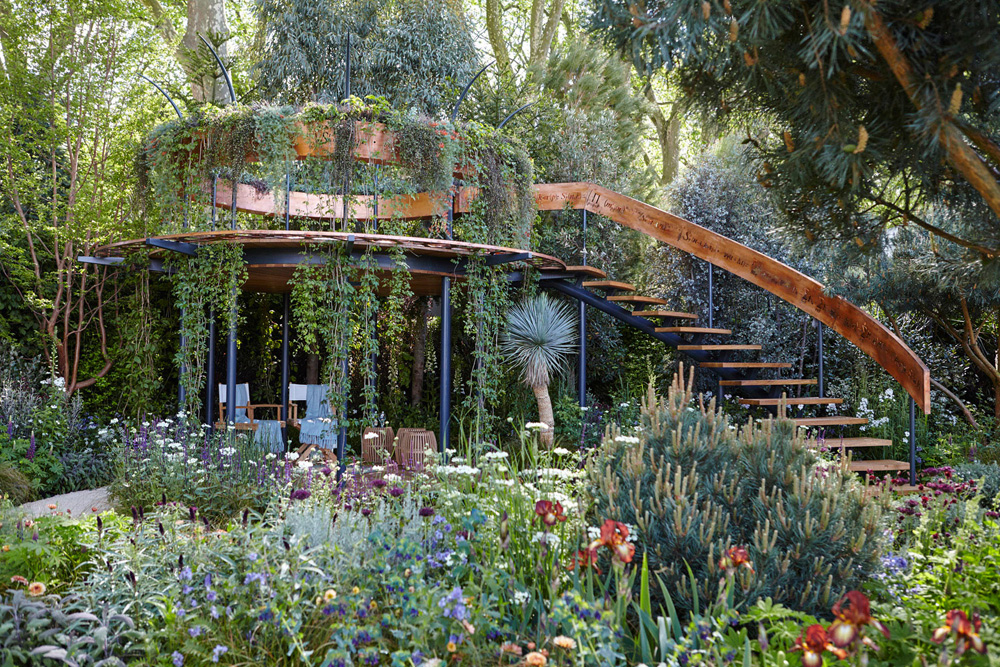 garden staircase in garden at chelsea flower show by airey spaces