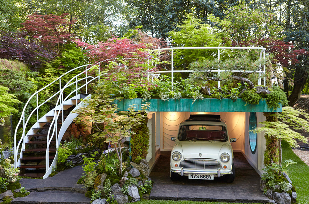 japanese garage design with garden by airey spaces