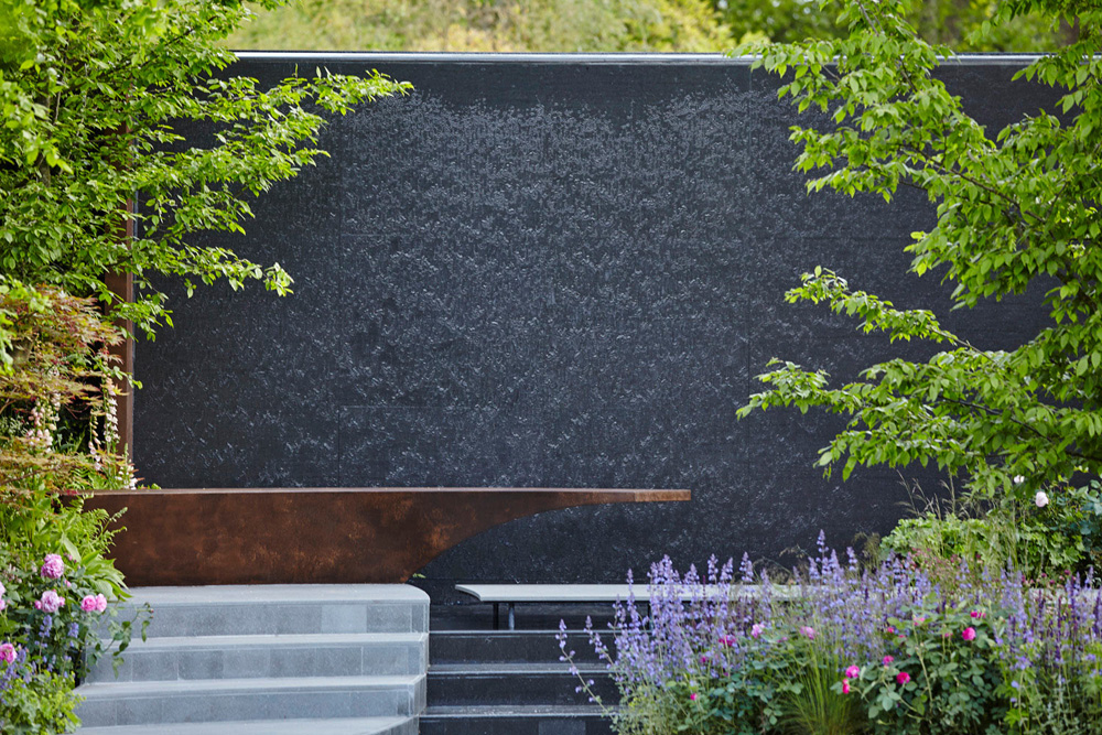 wall of water in garden design by airey spaces