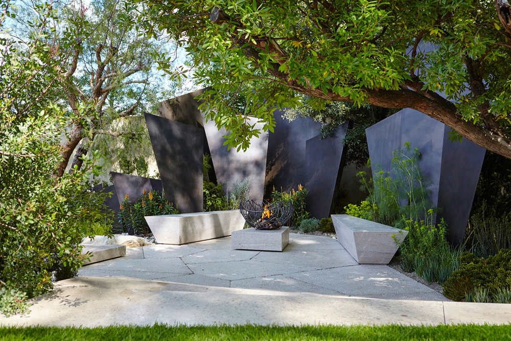 RHS chelsea best in show garden with metal structures by airey spaces