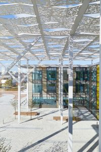ornate metal roof of new modern offices by Airey Spaces