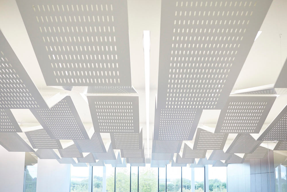 metal roof detail and light fitting in new modern office by Airey Spaces