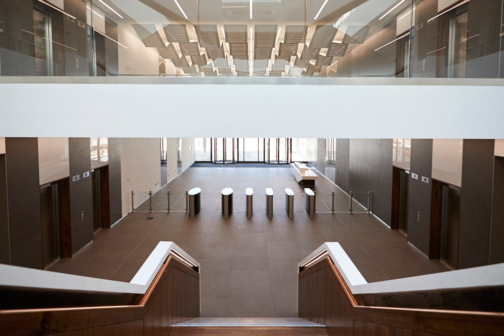 staircase reception and mezzanine of new office development by Airey Spaces