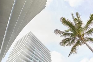 concrete balconies of twist modern apartment buildings in Miami by Airey Spaces