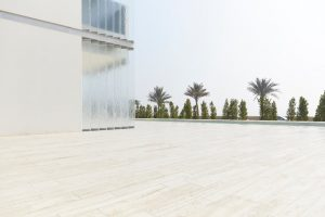 palm trees and glass panels at Muraba Residences on Palm Jumeirah by Airey Spaces