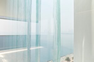 glass panels sea view in modern apartments Muraba Residences on Palm Jumeirah by Airey Spaces