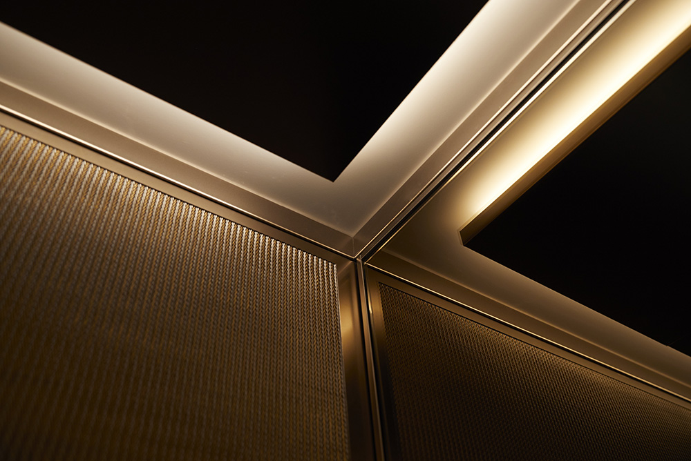 luxurious lift interior lighting and panel by Airey Spaces