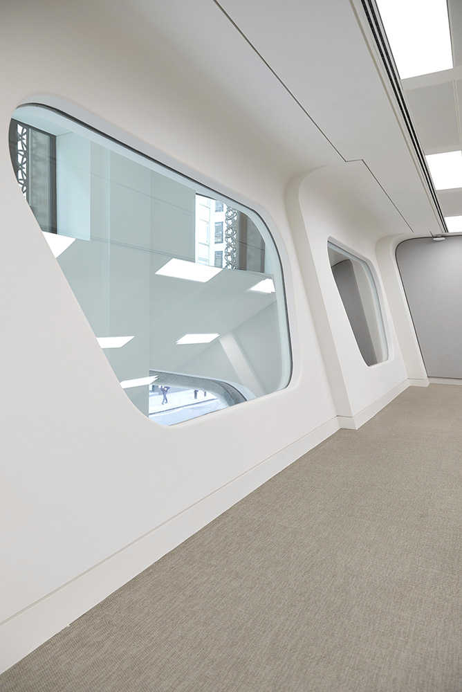 curvaceous modern white interior office windows by Airey Spaces