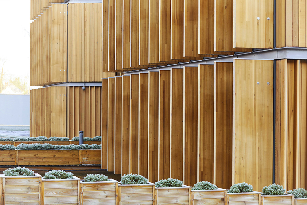 wooden cladding on Alder Hey Liverpool by Hopkins Architects photographed by Airey Spaces
