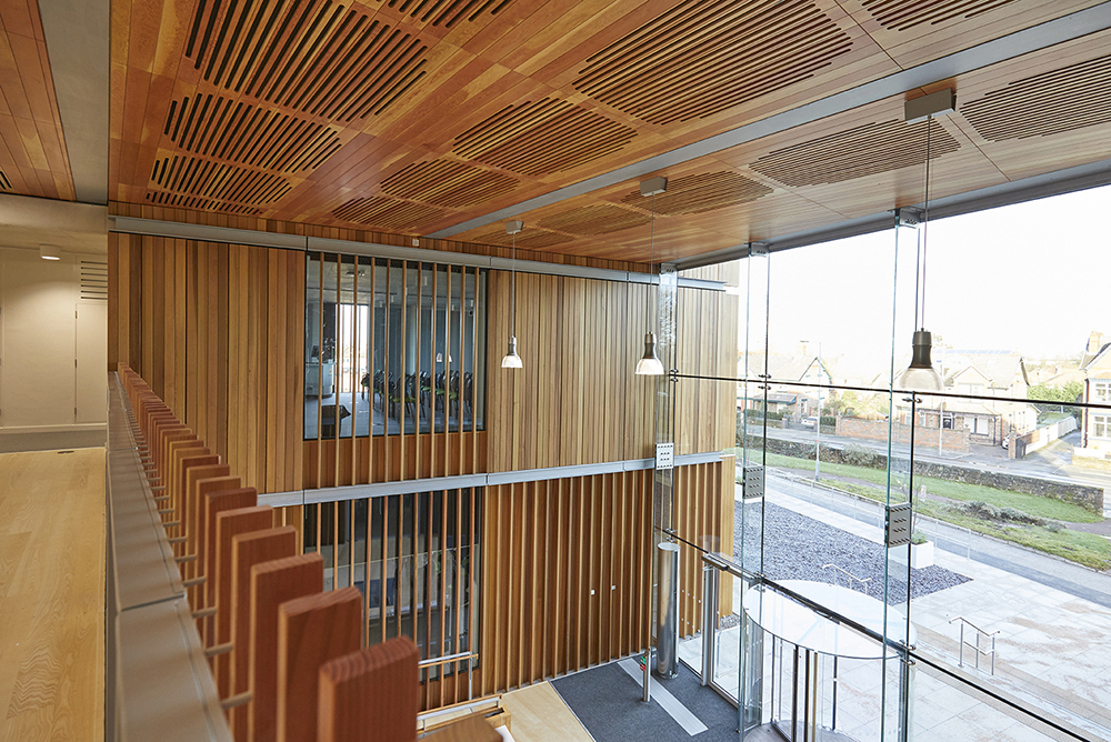 Wooden finishes on Aldery Hey Hospital architects Hopkins photographed by Airey Spaces