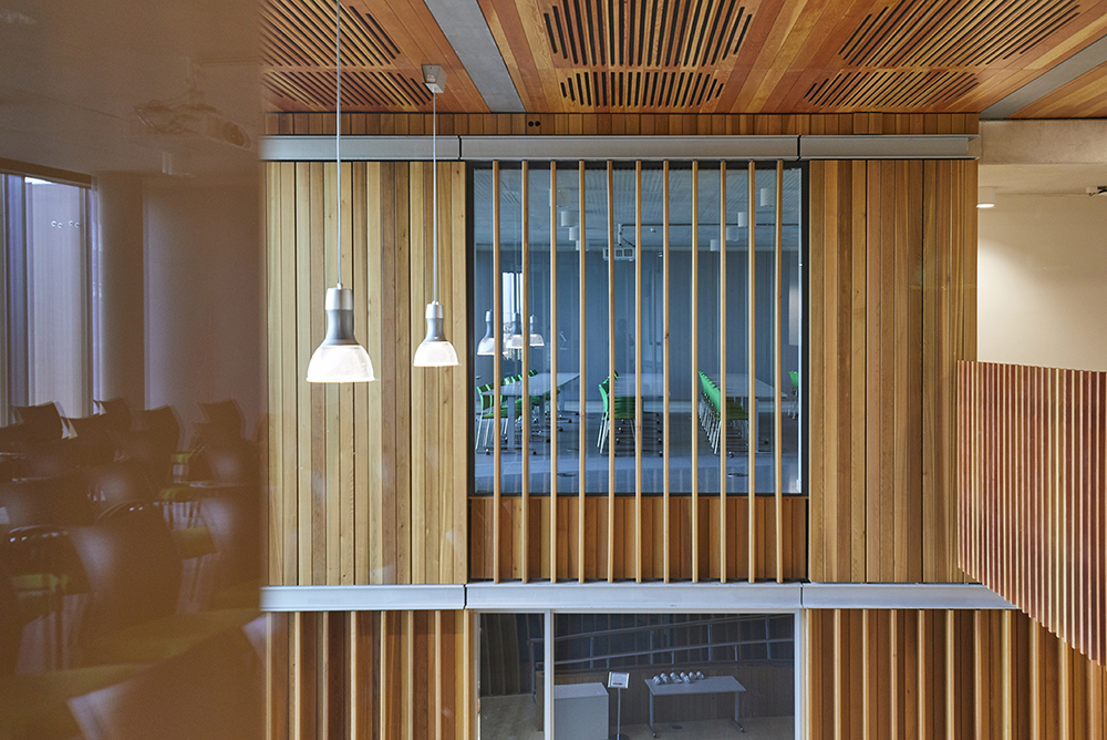 lecture room and wooden finishes on Aldery Hey Hospital architects Hopkins photographed by Airey Spaces