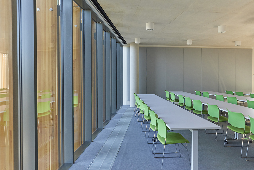 lecture room modern architecture interiors by Hopkins Architects photographed by Airey spaces